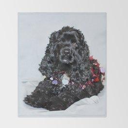 Valentine Puppy Photography Print Throw Blanket