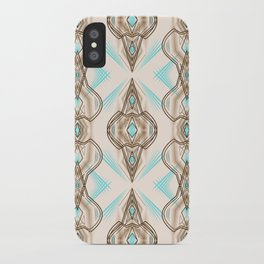 Art Deco . Turquoise brown white . iPhone Case