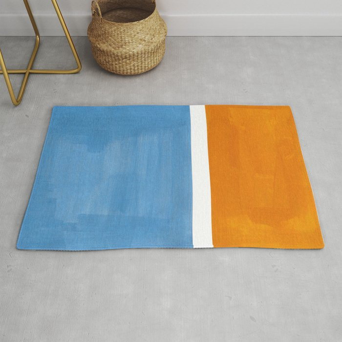 Rothko Minimalist Abstract Mid Century Color Black Square Periwinkle Yellow Ochre Rug