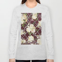 Country chic burgundy white quatrefoil watercolor floral Long Sleeve T-shirt