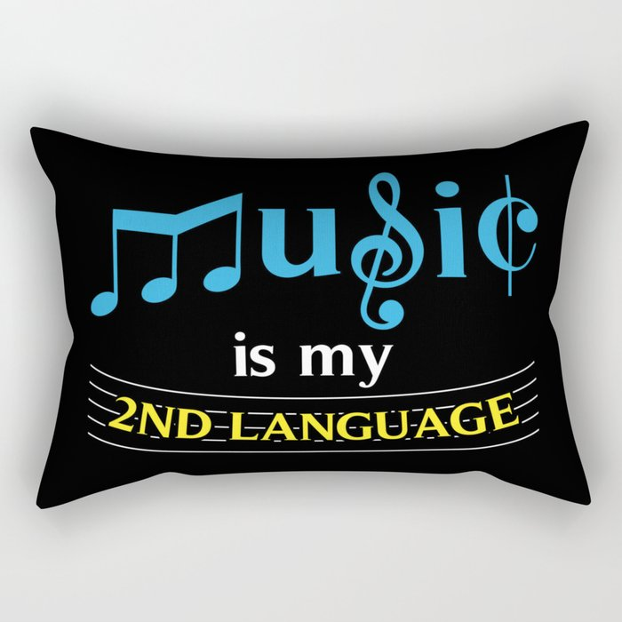 Music Is My 2nd Language Rectangular Pillow