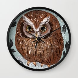 Painted Owl Wall Clock