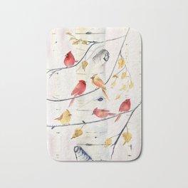 Winter Song 4 - Cardinal Birds Bath Mat