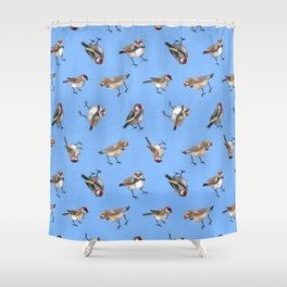 Finches in Blue Shower Curtain