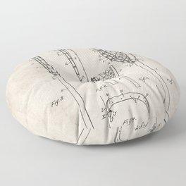 Lacrosse Stick Patent - Lacrosse Player Art - Antique Floor Pillow