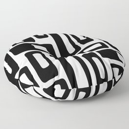 Retro Mid Century Modern Abstract Pattern 336 Black and White Floor Pillow