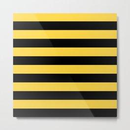 Even Horizontal Stripes, Yellow and Black, L Metal Print