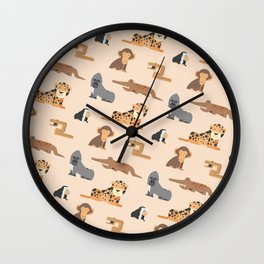 African Jungle Animals Pattern Wall Clock