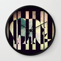 rhino Wall Clocks featuring Rhino by Yasmina Baggili