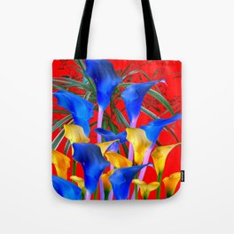YELLOW & AZURE BLUE CALLA LILIES RED ART Tote Bag