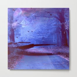 Surreal Fairytale Fantasy Blue Nature Trees Fusion Wall Art Home Decor Metal Print