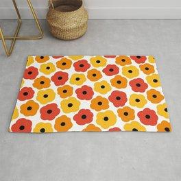 Mid Century Modern Poppy Flowers - Yellow, Orange, Red Rug