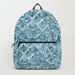 NAVY LIKE A MERMAID Fish Scales Watercolor Backpack