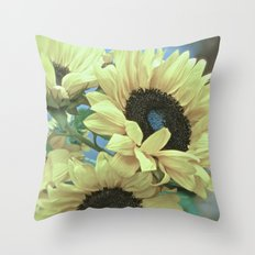 Sunflowers in Blue Throw Pillow