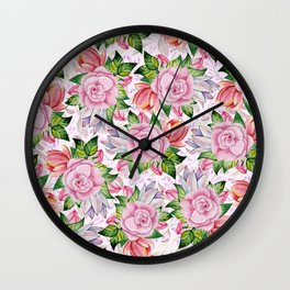 Watercolor pink lavender colorful hand painted roses flowers Wall Clock