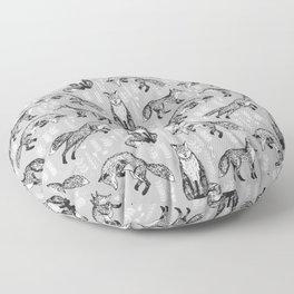 Fox pattern drawing foxes cute andrea lauren grey forest animals woodland nursery Floor Pillow