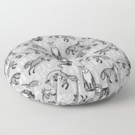Fox pattern drawing foxes cute andrea lauren grey forest animals woodland nursery Floor Pillow