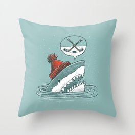 Hockey Shark Throw Pillow