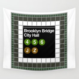 subway brooklyn bridge sign Wall Tapestry