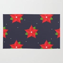 Poinsettia Christmas Pattern Rug