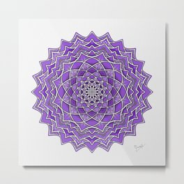 12-Fold Mandala Flower in Purple Metal Print