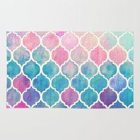 galaxy Area & Throw Rugs featuring Rainbow Pastel Watercolor Moroccan Pattern by micklyn
