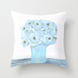 Boho still life flowers in vase Throw Pillow
