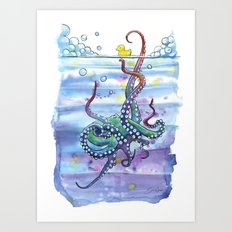 Bath Time Octopus Art Print