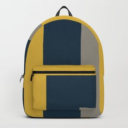 Half Frame Minimalist Pattern in Deep Mustard Yellow, Navy Blue, Gray, and White Backpack