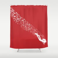 scuba Shower Curtains featuring Scuba Diving by Lotecani