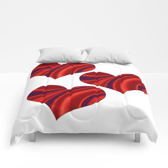 Fractal Heart Trio Comforters
