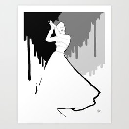 'Back to Black' Fashion Illustration Art Print