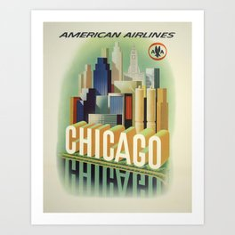 Vintage Travel Poster - Chicago Art Print