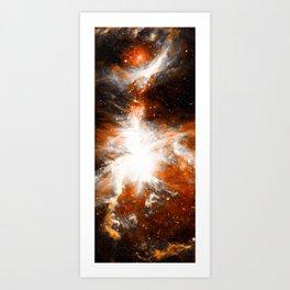 Orion Nebula Long Orange Gray Art Print