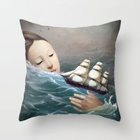 voyage Throw Pillows featuring Voyage by Christian Schloe