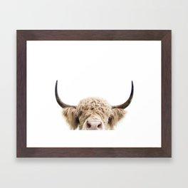 Peeking Highland Cow Framed Art Print