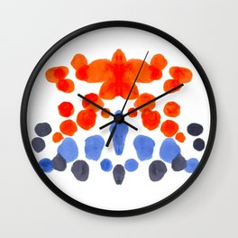 Rorschach Inkblot Diagram Psychology Abstract Symmetry Colorful Watercolor Art Blue Orange Complemen Wall Clock