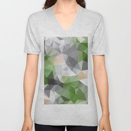 Grey green polygonal pattern Unisex V-Neck