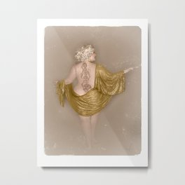 """""""Golden Goddess"""" - The Playful Pinup - Majestic Curvy Pin-up Beauty in Gold by Maxwell H. Johnson Metal Print"""