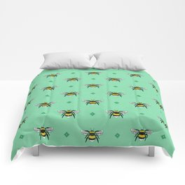 Bumblebees on Spearmint Comforters
