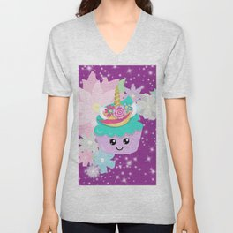 Unicorn Cupcake Sparkles Background Unisex V-Neck