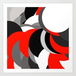 black white grey red geometric digital art Art Print
