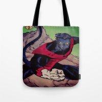 nightcrawler Tote Bags featuring The Amazing Nightcrawler by mataspey86
