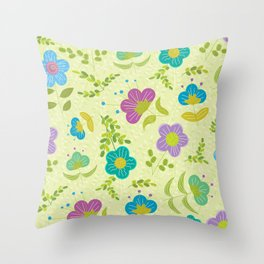 Round Blue Purple Mint Flowers On Soft Green Leaves (pattern) Throw Pillow