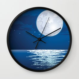 Moonlit path on the sea Wall Clock