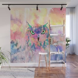 Watercolor eagle owl abstract paint Wall Mural