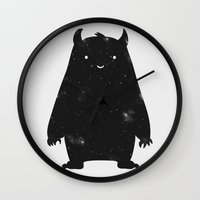 large Wall Clocks featuring Mr. Cosmos by Zach Terrell