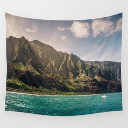 Na Pali Coast Kauai Hawaii Printable Wall Art   Tropical Beach Nature Ocean Coastal Travel Photography Print Wall Tapestry