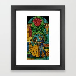 Beauty and The Beast - Stained Glass Framed Art Print