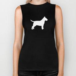 White Bull Terrier Silhouette Biker Tank
